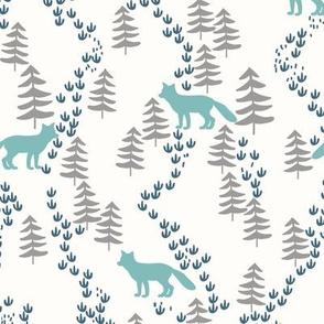 Fall forest foxes in teal - bigger scale