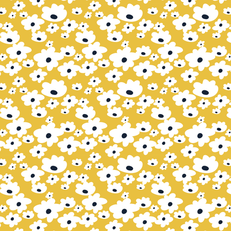 Sweet daisies in mustard yellow - TINY fabric by thislittlestreet on Spoonflower - custom fabric