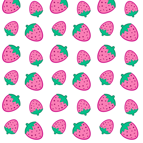 Confetti Strawberries Pink & White fabric by magic_circle on Spoonflower - custom fabric