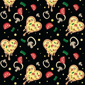 Veggie Supreme Heart Shaped Pizza - Black