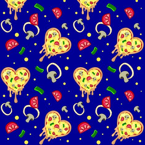 Veggie Supreme Heart Shaped Pizza - Blue fabric by magic_circle on Spoonflower - custom fabric