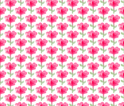 Watercolor pink flowers fabric by maddyz on Spoonflower - custom fabric