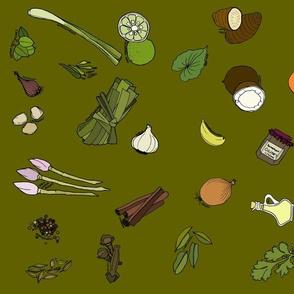 Scattered ingredients, dark moss