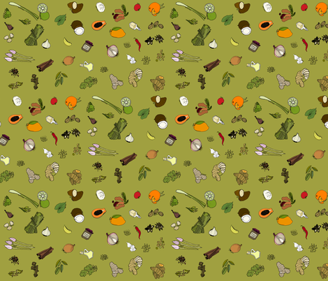 Scattered ingredients, moss green fabric by coppercatkin on Spoonflower - custom fabric