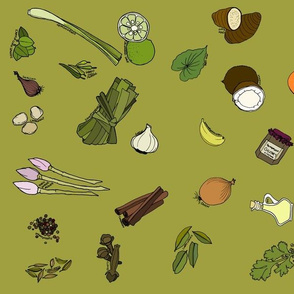Scattered ingredients, moss green