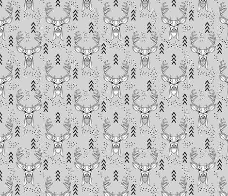 Deer geometric // Grey and Black fabric by howjoyful on Spoonflower - custom fabric