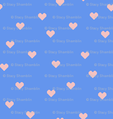 1:6 Scattered Hearts-Baby Pink On Cornflower Blue