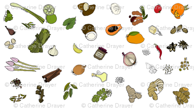 Scattered ingredients, white