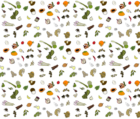 Scattered ingredients, white fabric by coppercatkin on Spoonflower - custom fabric