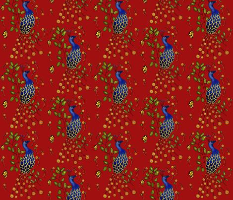 Pfau  Purdy Peacock  dark red fabric by sewindigo on Spoonflower - custom fabric