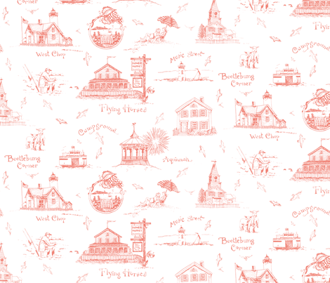 MV Pinky-Coral Toile fabric by susanbranch on Spoonflower - custom fabric