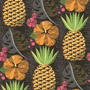 Tropical Pineapple Tiki-Brown12 3/4