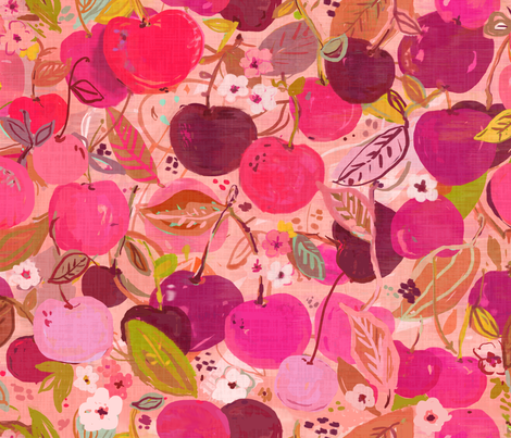 Sweet Cherries fabric by fable_design on Spoonflower - custom fabric