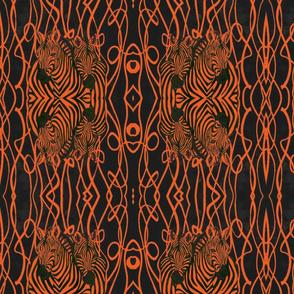 African Zebra design in orange and black