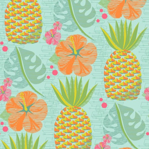 Tropical Pineapple Tiki-Aqua12 3/4