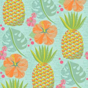Tropical Pineapple Tiki-Aqua12 3/4