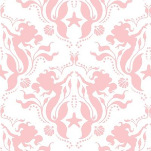 Mermaid Damask - pink/White
