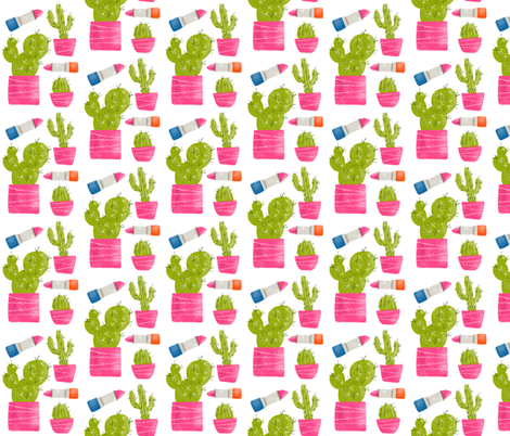 Lipstick and Cactus fabric by ellolovey on Spoonflower - custom fabric