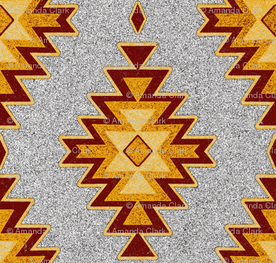 Aztec Kilim Stone - Maroon, red, gold, gray