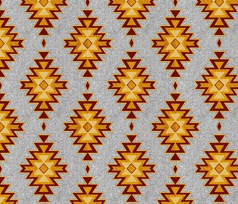 Aztec Kilim Stone - Maroon, red, gold, gray fabric by sugarpinedesign on Spoonflower - custom fabric