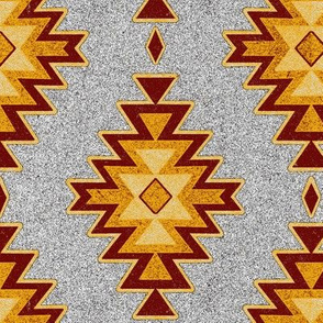 Aztec Kilim Stone - Maroon, red, gold, gray