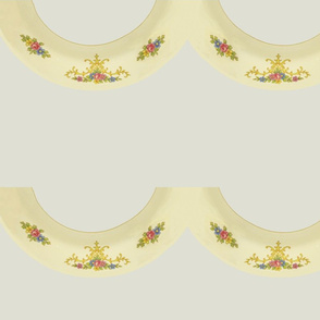 edge - pale yellow, flowers & filigree