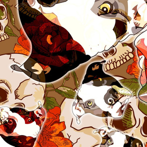 Big Bold Skulls and Flowers Pattern with Pitbull