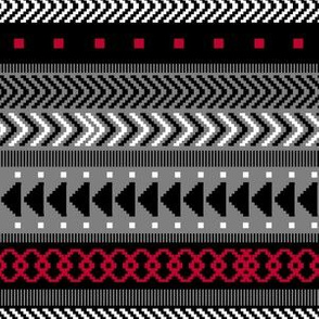 Black, White, Gray & Red Tribal Geometrics