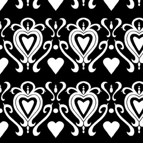 Heart Damask Black and White