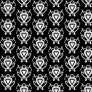 Heart Damask 1- Black and White
