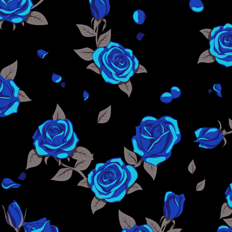 blue roses on black fabric analinea spoonflower