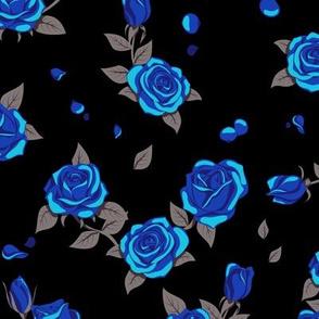 Blue roses on black