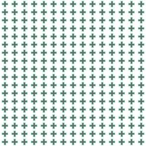 Mint Green & Grey Swiss Crosses