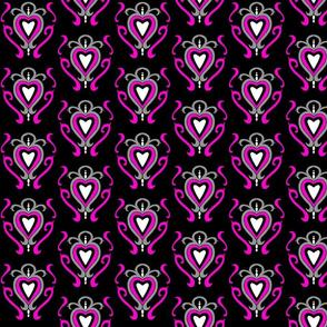 Heart Damask 1- Pink