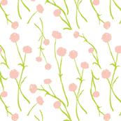 Summery Flowers, Watercolor, Warm Pink