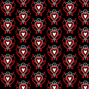 Heart Damask 1- Red