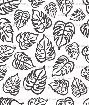 drawn tropical leaf - black