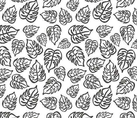 drawn tropical leaf - black fabric by rarebirddesignco on Spoonflower - custom fabric