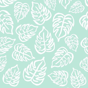drawn tropical leaf - mint green