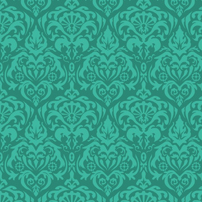 Subtle Gears Damask in Teal
