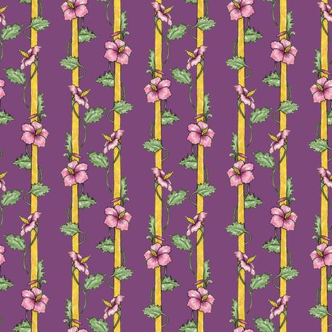 Hibiscus Stripes - Purple fabric by siya on Spoonflower - custom fabric