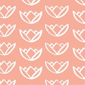 drawn lotus - salmon pink