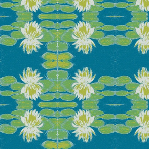 waterlily_sketch_in_white on teal-ch