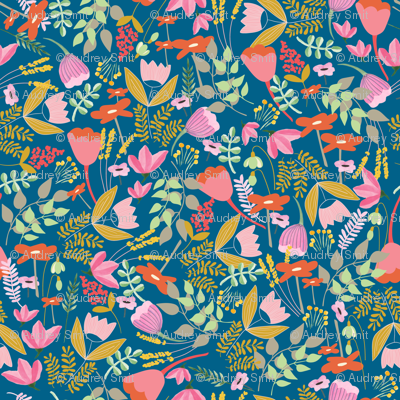 Wild meadow floral in blue - medium