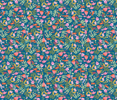 Wild meadow floral in blue - medium fabric by thislittlestreet on Spoonflower - custom fabric
