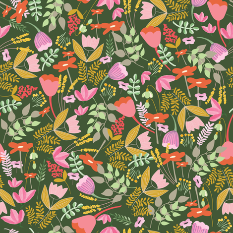 Wild meadow floral in green - medium fabric by thislittlestreet on Spoonflower - custom fabric