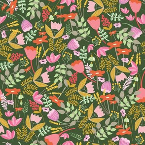 Wild meadow floral in green - medium