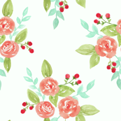 Watercolor bouquet on mint