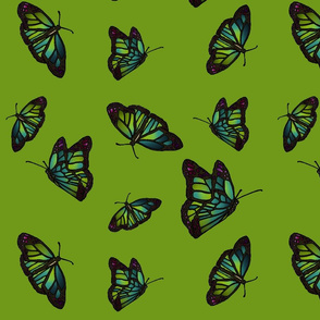 Butterflies on green background