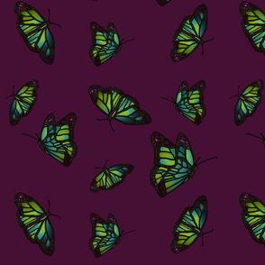 Butterflies on dark magenta background